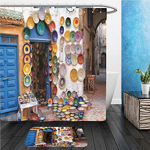 Beshowereb Bath Suit: ShowerCurtian & Doormat colorful moroccan faience pottery dishes on display in an alley outside a shop in the scenic - London In Versace Shop