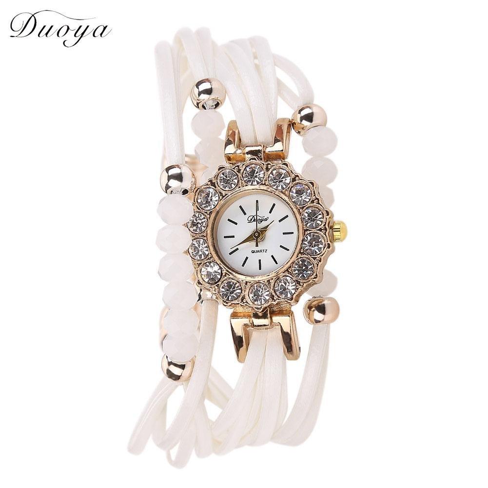 jocestyleレディースビーズレザーラップブレスレットアナログクォーツ腕時計クリスタル腕時計 ホワイト ホワイト ホワイト B0792Y8QYW