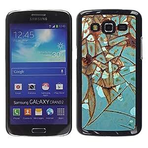 rígido protector delgado Shell Prima Delgada Casa Carcasa Funda Case Bandera Cover Armor para Samsung Galaxy Grand 2 SM-G7102 SM-G7105 /Iron Rust Metal Turquoise/ STRONG