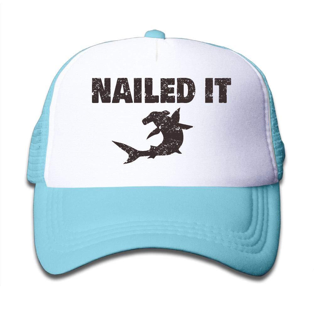 Kid's Boys Girls Hammerhead Shark Nailed It Youth Mesh Baseball Cap Summer Adjustable Trucker Hat by NO4LRM (Image #1)