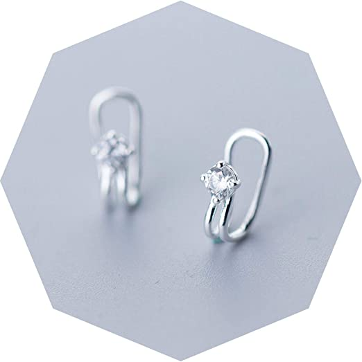 Amazon.com: 925 Sterling Silver Zircon Star Nonporous Clip Earrings for Women Party Minimalist Fine Jewelry Accessories: Clothing