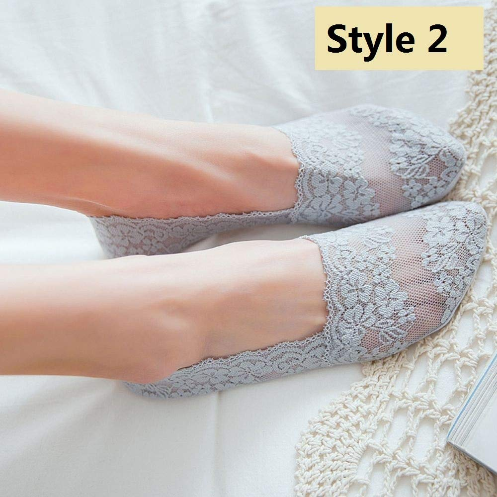 Amazon.com: UnnieShop 1 Pair Fashion Women Summer Lace Flower Short Sock Elastic Comfy Female Antis Invisible Ankle Socks: Kitchen & Dining