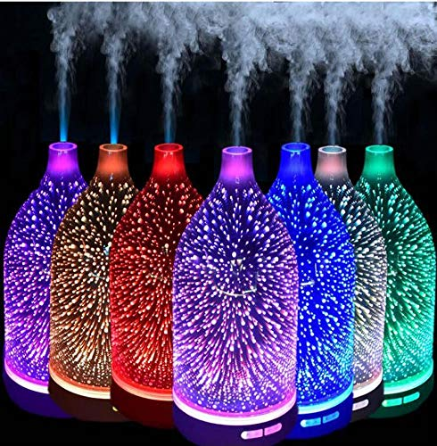 Frosted Glass Vases Essential (Evin 3D Essential Oil Diffuser, 120ml Aromatherapy ultrasonic Cold Mist humidifier, with 3D Design Glass Star Effect Pattern Essential Oil Aromatherapy Decorative lamp Office)
