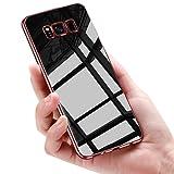 Custodia Galaxy S8 Plus Cover, Mture Custodia Chiaro Cristallo, Placcatura TPU Bumper Case, Trasparente Silicone Case S8 Plus, Anti-graffio Copertura Tacsa Caso per Samsung Galaxy S8 Plus Case Cover - Oro Rosa