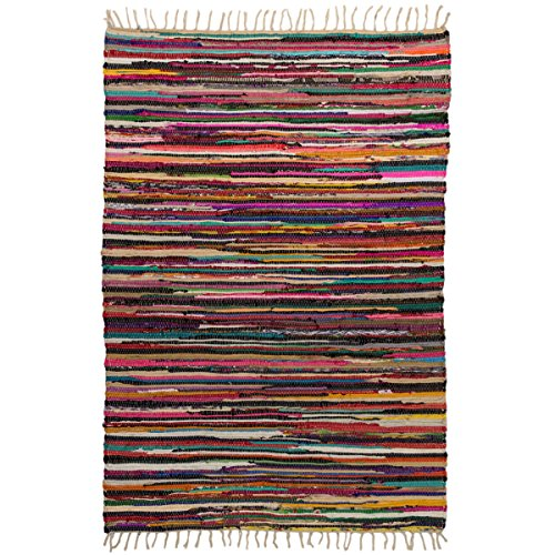 Royal Fiesta Chindi 4x6 Area Rag Rug Colorful Striped Braided Recycled Fabric For Hardwood Floors (Rag Striped)