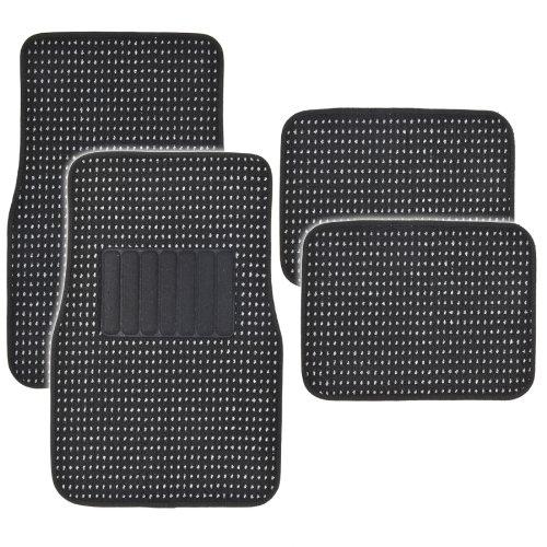 BDK MT302BK Premium Thick Plush Carpet Car Van SUV & Truck-Heavy Duty Woven Berber Style Floor Mat-4 Piece (Black) ()