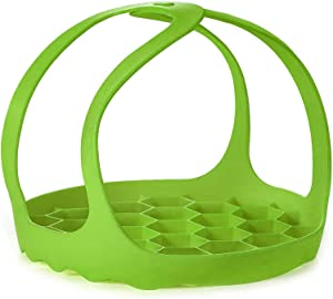 VISMOORE Pressure Cooker Sling, BPA-Free Silicone Bakeware Lifter for 6 Qt/8 Qt Cooker, Anti-Scalding Silicone Egg Steamer Rack, Green
