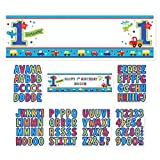 Amscan All Aboard Birthday Party Personalized Giant Sign Banner Decoration, Multi Colored, Paper, 65'' x 20'', 1-Piece (12)