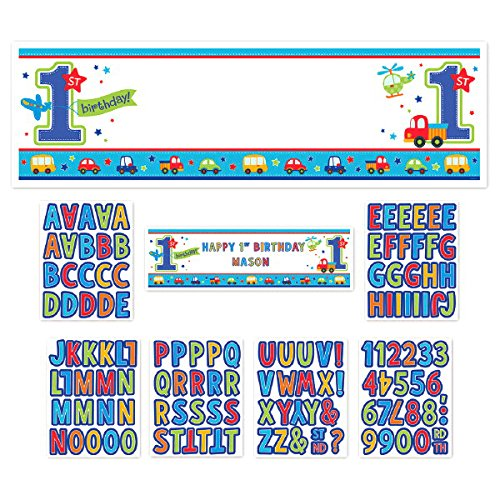 Amscan All Aboard Birthday Party Personalized Giant Sign Banner Decoration, Multi Colored, Paper, 65'' x 20'', 1-Piece (12) by Amscan