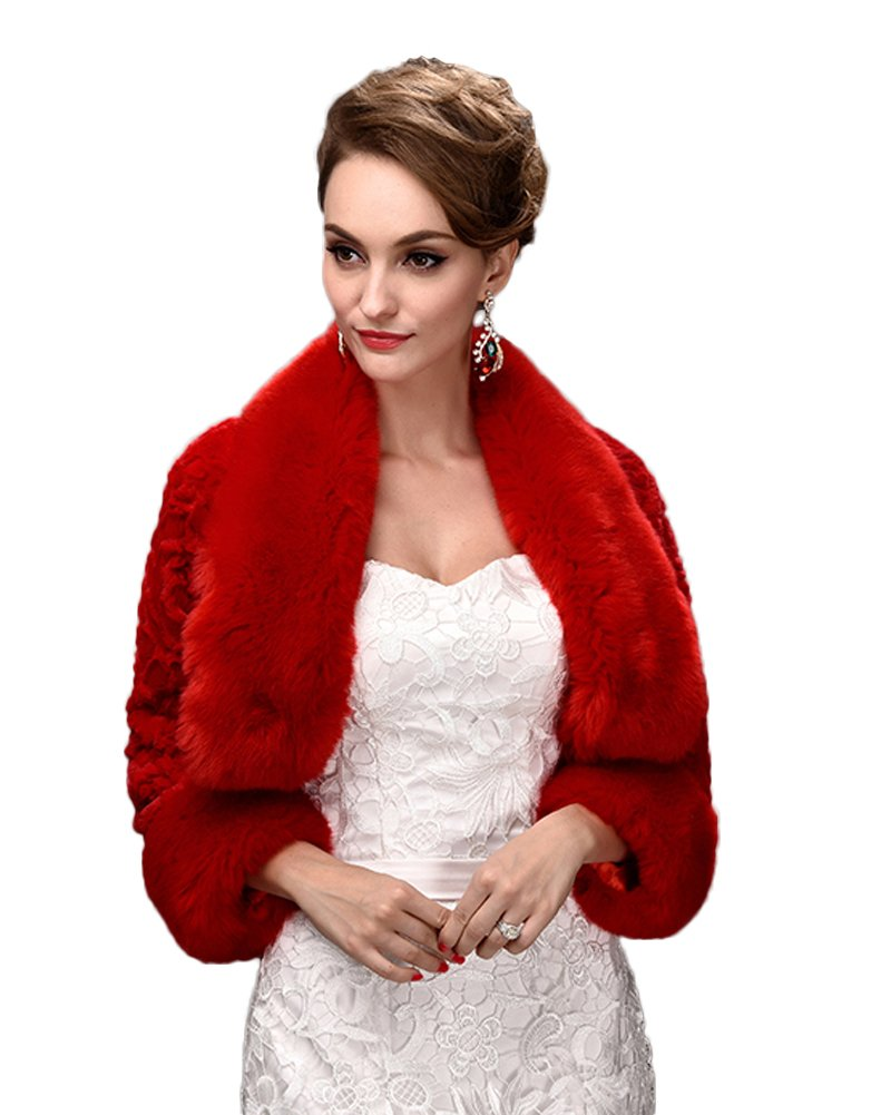 Oncefirst Women's Winter Faux Fur Wedding Jacket for Bride Wrap Shawl Bolero Jacket Red