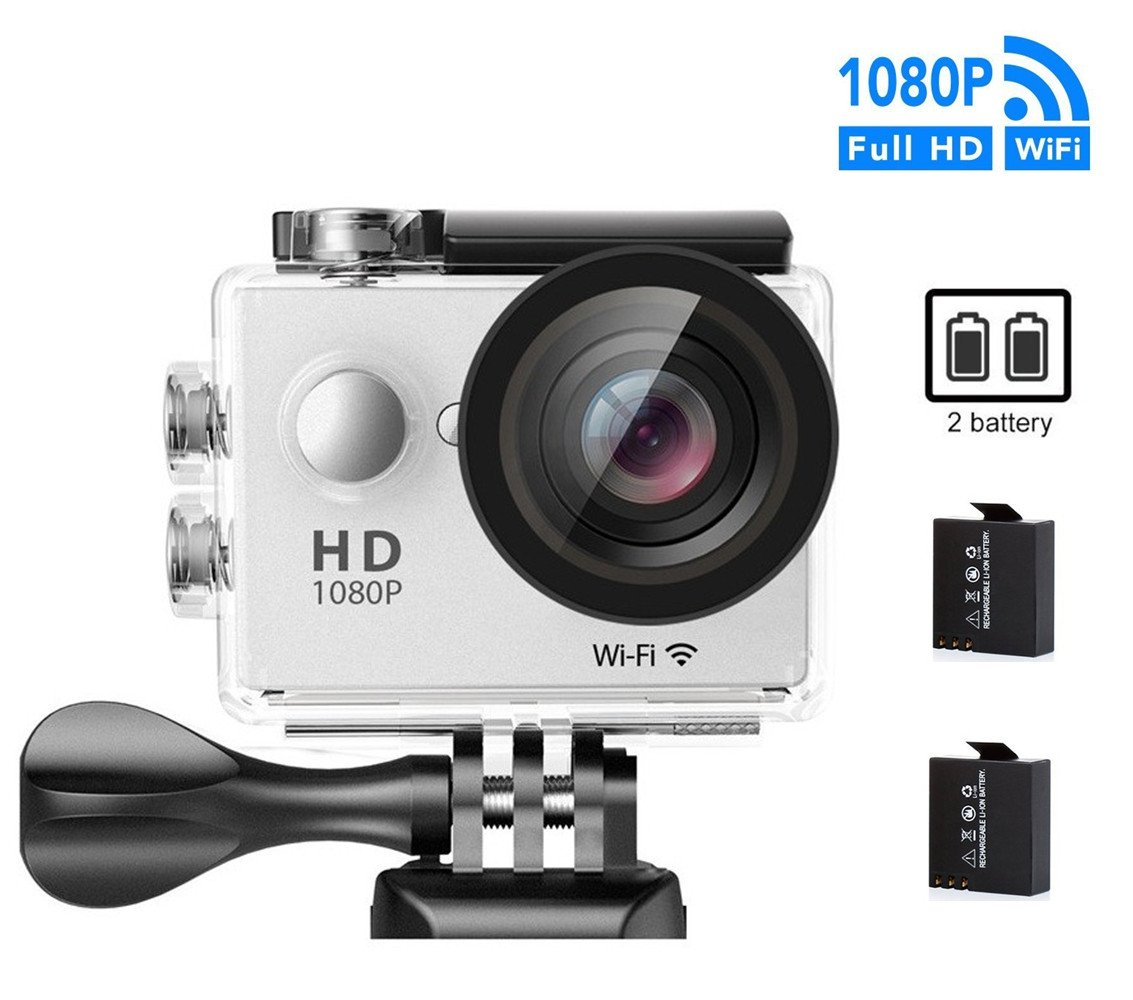 GULEEK Underwater Action Camera 1080P Full HD Wi-Fi Action Cam 12MP Waterproof 30M 155 Degree Wide Angle Lens 2.0 inch LCD Screen Two Rechargeable Batteries With Kit of Accessories DV Camcorder,White