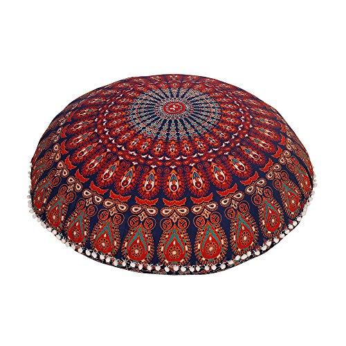 Navy Blue Round Mandala Floor Pillow Throw Living Room Decor