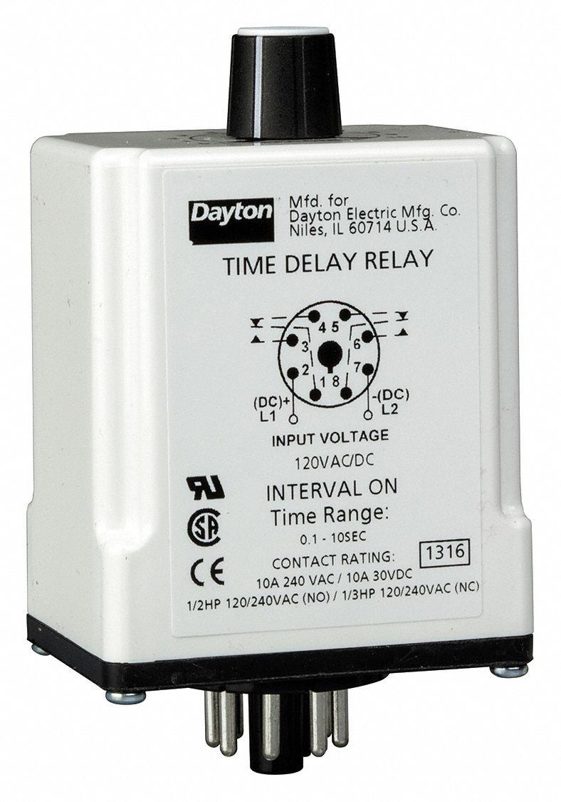 Dayton 1EGC8 Relay, Time Delay, DPDT, Interval Delay