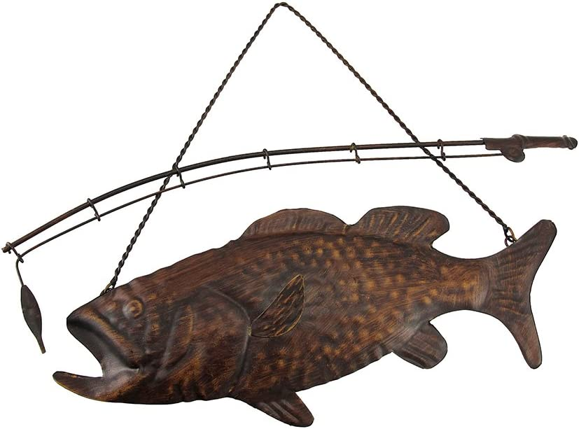 Zeckos Rustic Finish Largemouth Bass Metal Wall Hanging