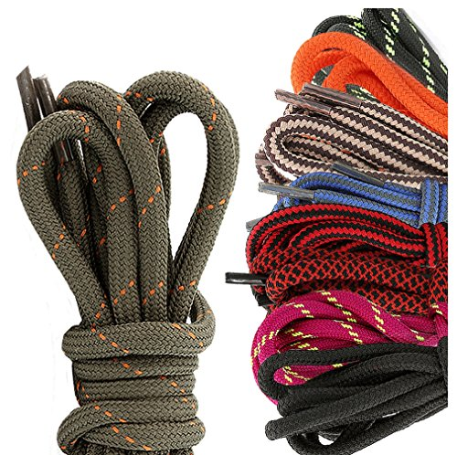 DailyShoes Round Hiking Boot Shoelaces Strong Durable Stylish Shoe Laces Elixir Cory , (Great for Bowling Shoes) Black Lime 27″ inch (69 cm), (9 PAIRS PACK)
