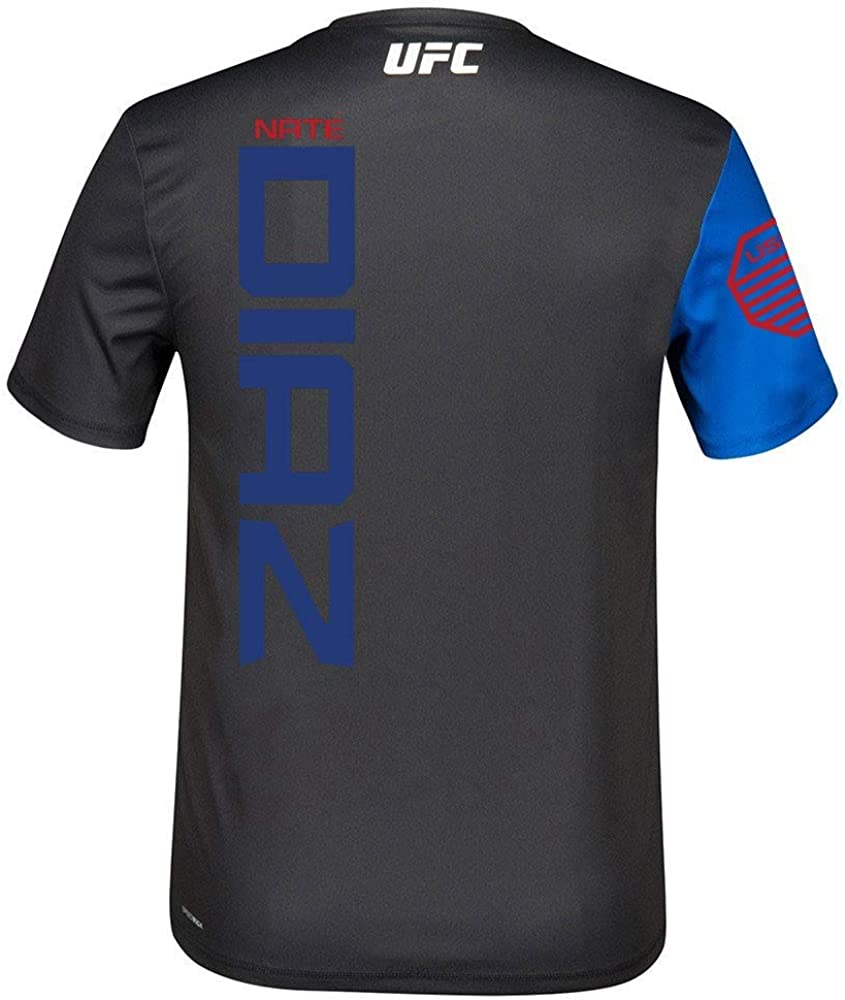 Fight Kit Walkout Jersey Mens Reebok Nate Diaz UFC Official Black//Royal Blue