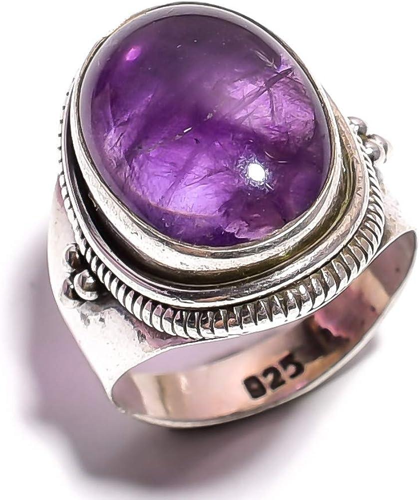 mughal gems & jewellery Anillo de Plata esterlina 925 Anillo de joyería Fina de Amatista Natural y Piedras Preciosas para Damas (Tamaño 7 U.S)