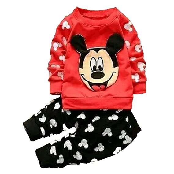 138e74252 AP Boutique Baby Girl's and Boy's Cotton Long Sleeves Mickey Mouse T-Shirt,  Tracksuit