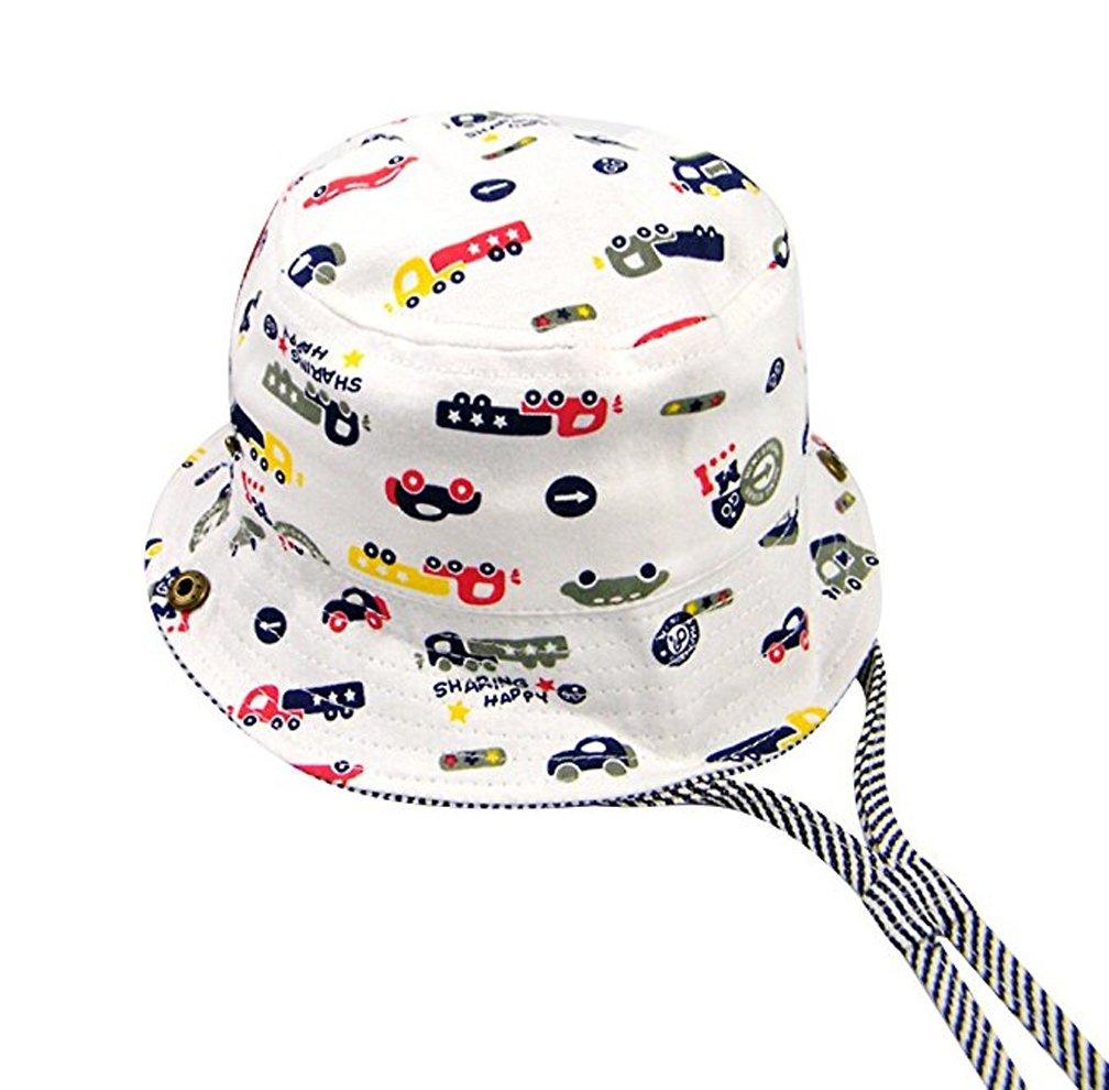 Baby Hat Boys Girls Toddler Kids Play Sun Hats Bucket/Reversible Brim,Sun Protection Hat Drawstring Adjust Chin Strap (Car, 19.7''(50cm)(1-2 Years))