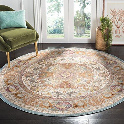 Safavieh Aria Collection Premium Wool Round Area Rug, 6 5 Diameter, Beige Orange