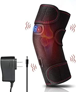 Heated and Vibration Massage Knee Brace Wrap, Physiotherapy Massager Heating for Knee Injury Cramps Arthritis Recovery Massager for Muscles Pain Relief Fit Men and Women (Black-03)