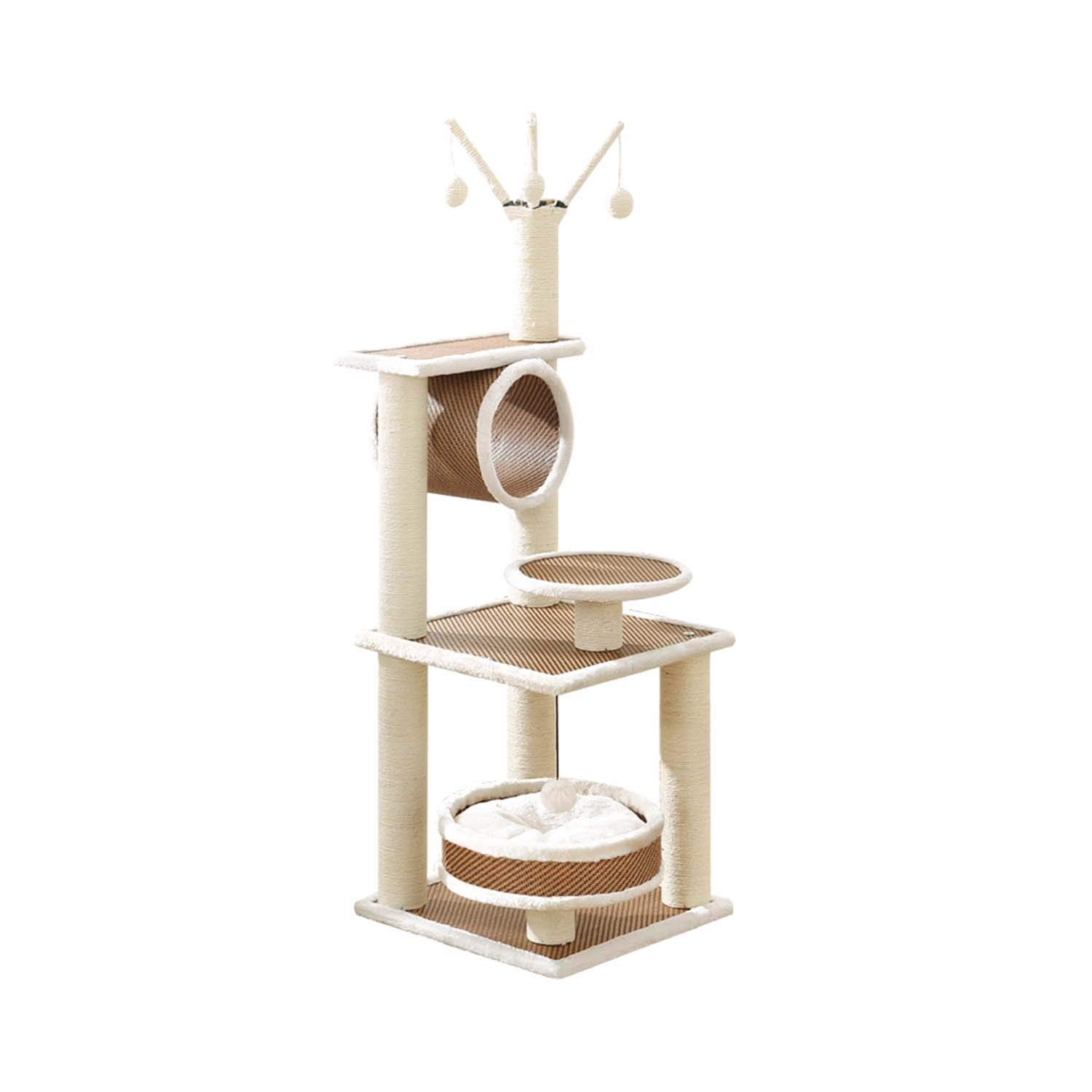 41cm41cm120cm-B Siler Cat Tree, Sisal Cat Climbing Frame with Cat Basket and Pipeline Activity Center Cat Scratch Board SL-031 (Size   41cm41cm120cm-B)
