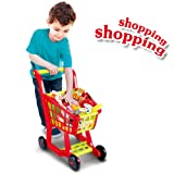 Seprovider Shopping Cart Toy, Kids Supermarket Cart Simulation Shopping Trolley Toy with 27 Pieces of Fruits, Vegetables, Food, Pretend Play Toy Grocery Cart Yellow/Red