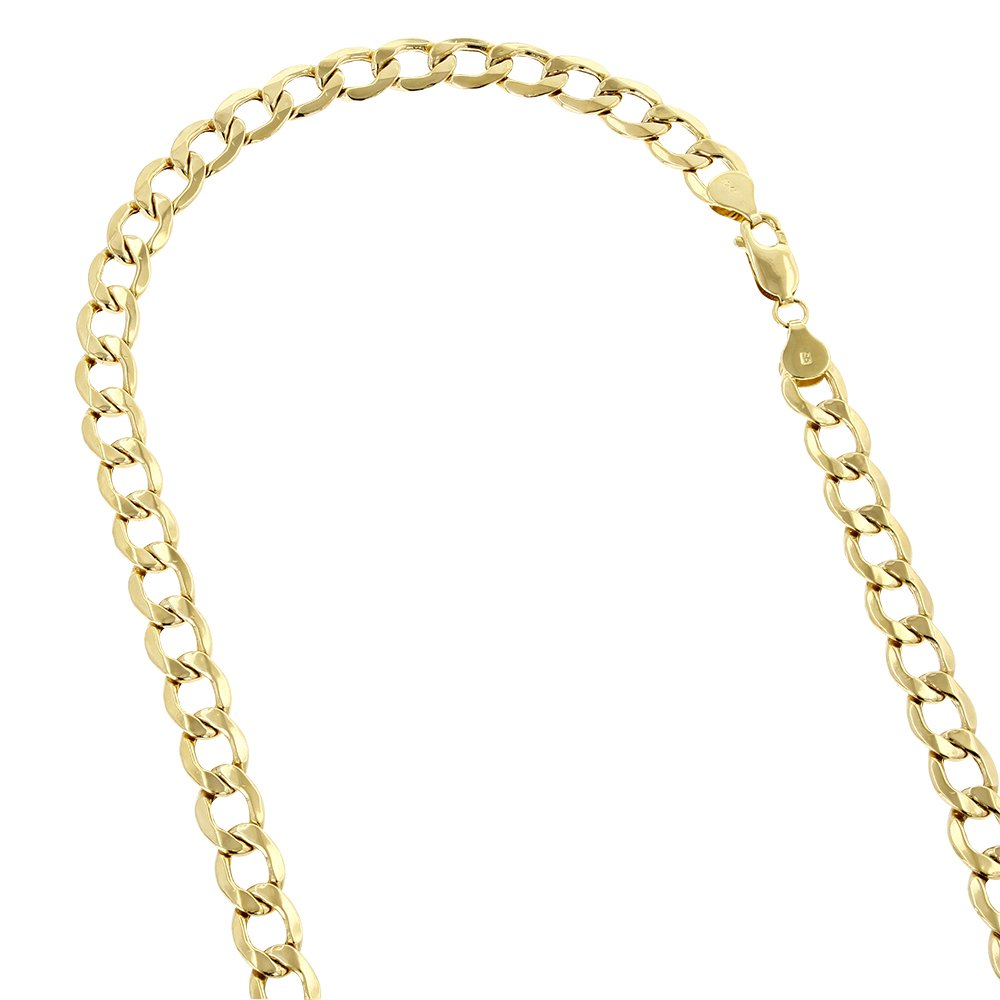 IcedTime 10K Yellow Gold Hollow Italy Cuban Curb Link Chain Necklace with Lobster Clasp 6mm Wide 22'' Long