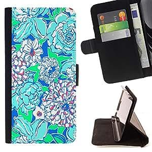 "For Sony Xperia Style T3,S-type Arte floral Verde Azul Naturaleza"" - Dibujo PU billetera de cuero Funda Case Caso de la piel de la bolsa protectora"
