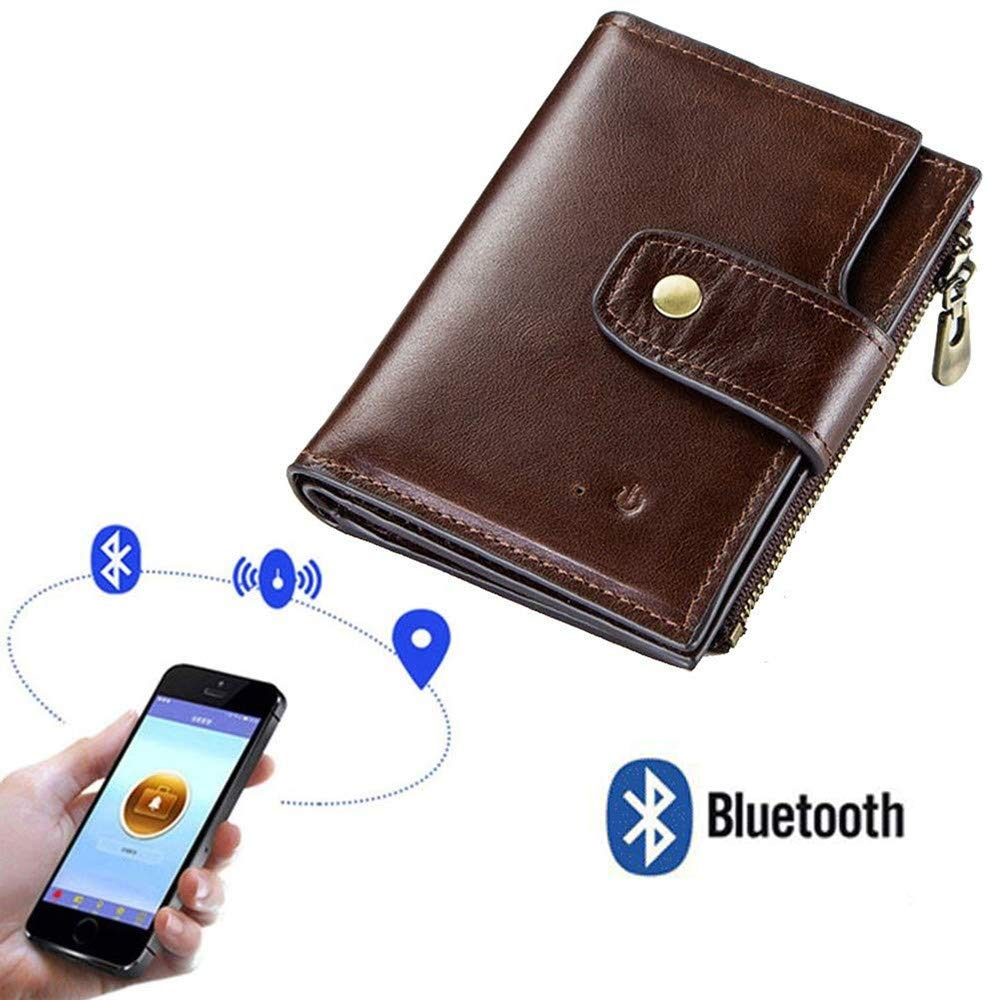 Wallet With Gps Positioning,Battery Powered Anti Theft Smart Tracker,Smart Bluetooth Anti-Lost Security,Pu Leather, Blocking Credit Card Holder Coin Pocket,Suitable For Men,Brown-12.5x10cm by suneagle