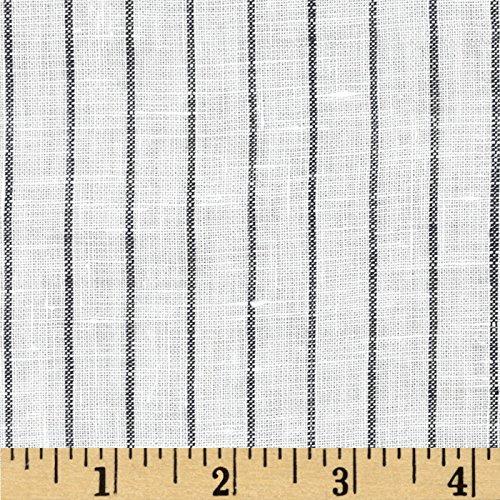 - TELIO Tuscany Pinstripe Linen Fabric by The Yard, Cream/Black