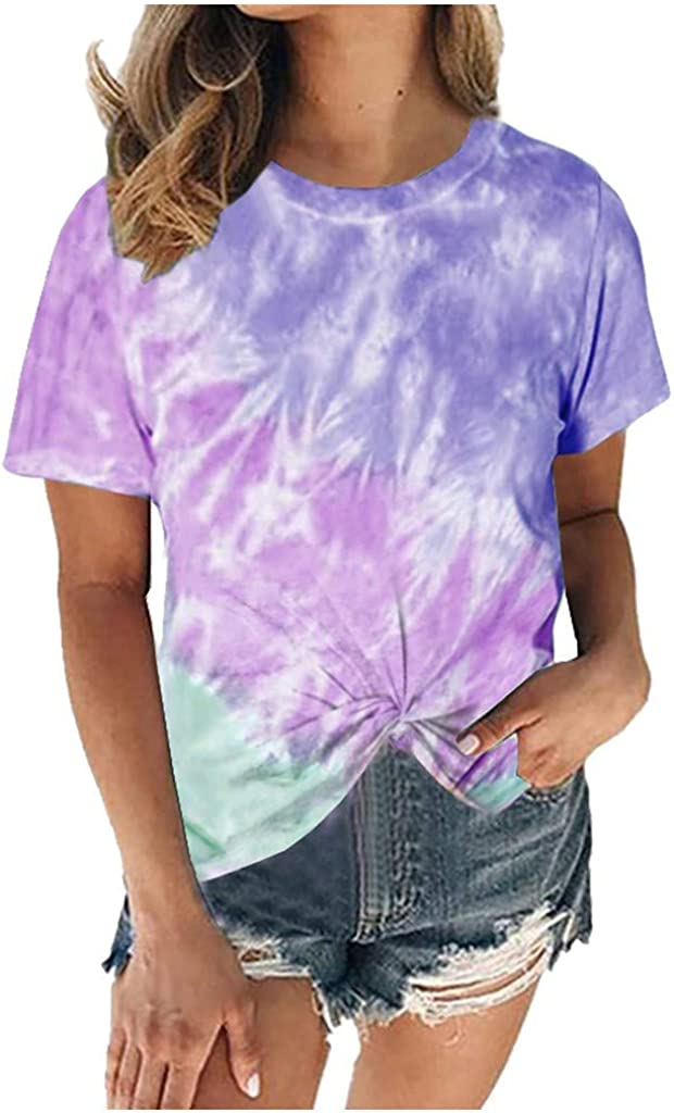 Eduavar Summer Tops for Women Girls Cute Dandelion T Shirt Wildflower Print Vintage Funny Short Sleeve Graphic Tee Top