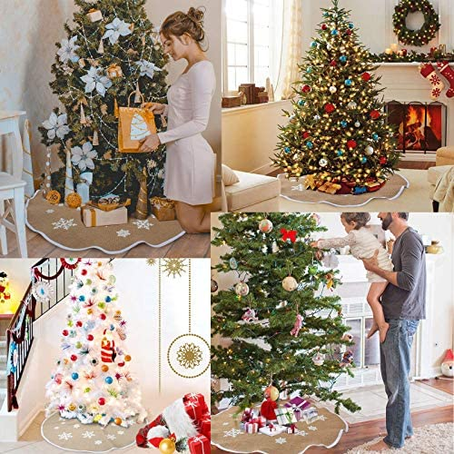 B Sunshine smile Christmas Tree Skirt,Falda del /árbol de Navidad,decoraci/ón de la Fiesta de Navidad,Blanco Falda del /árbol de Navidad