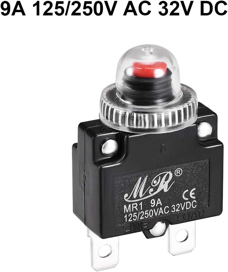 sourcing map Thermique Disjoncteurs Pousser Bouton R/éinitialiser Surcharge Protecteur avec Imperm/éable Cap 13A