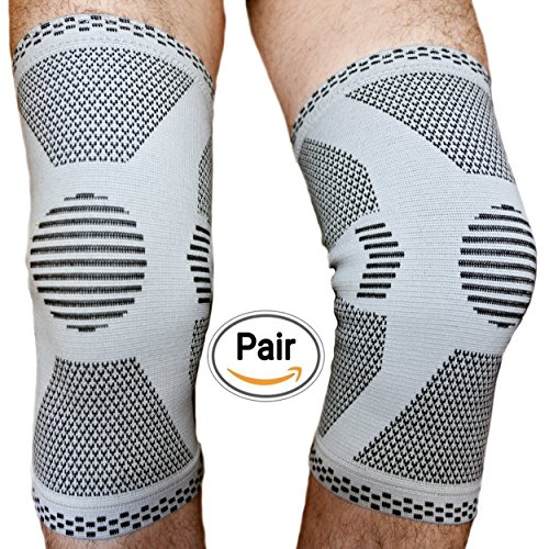 Pair of 2 Knee Support Compression Sleeve Brace Patella Stabilizer for Meniscus Tear and Knee Pain Relief Arthritis for Men Women Sport Prime Jumpers Running Basketball Tennis Knee Band Flexible