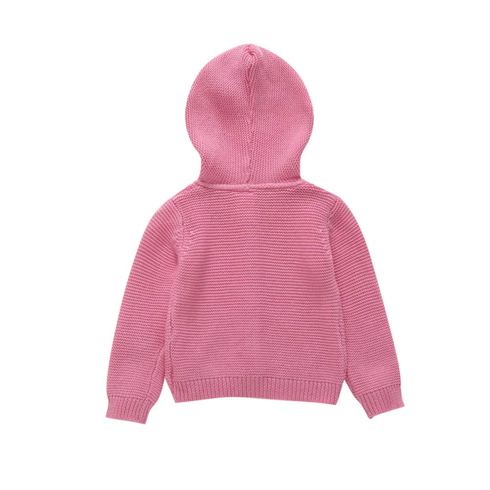 Iuhan Infant Baby Boy Girl Botton Warm Knit Hooded Tops Sweater Outfit Coat