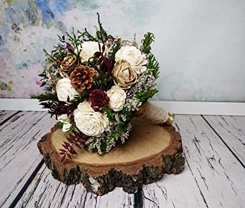 Whole Foods Wedding Bouquet: Amazon.com: Burgundy Ivory Gold And Green Wooden Flowers