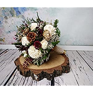 Burgundy Ivory Gold and Green Wooden Flowers Wedding Bouquet with Pine Cones 84