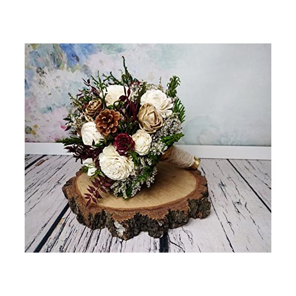 Burgundy Ivory Gold and Green Wooden Flowers Wedding Bouquet with Pine Cones