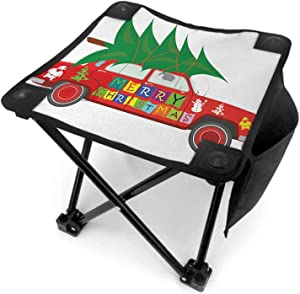 Christmas Kids Camping Chair with Carry Bag, Red Vintage Car with Xmas Tree Merry Christmas Quote and Snowman Elf Camping Accessories Vermilion Green White