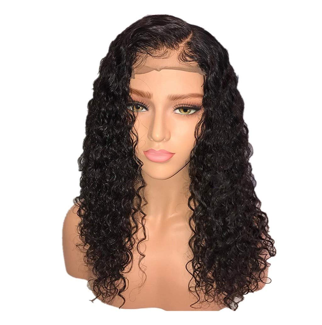 Front Full Wig, Women Deep Wave Lace Full Wig Short Curls Hair Natural Black Brazilian Style Look Real Cosplay Costume Party Wigs JHKUNO (20inch Black)