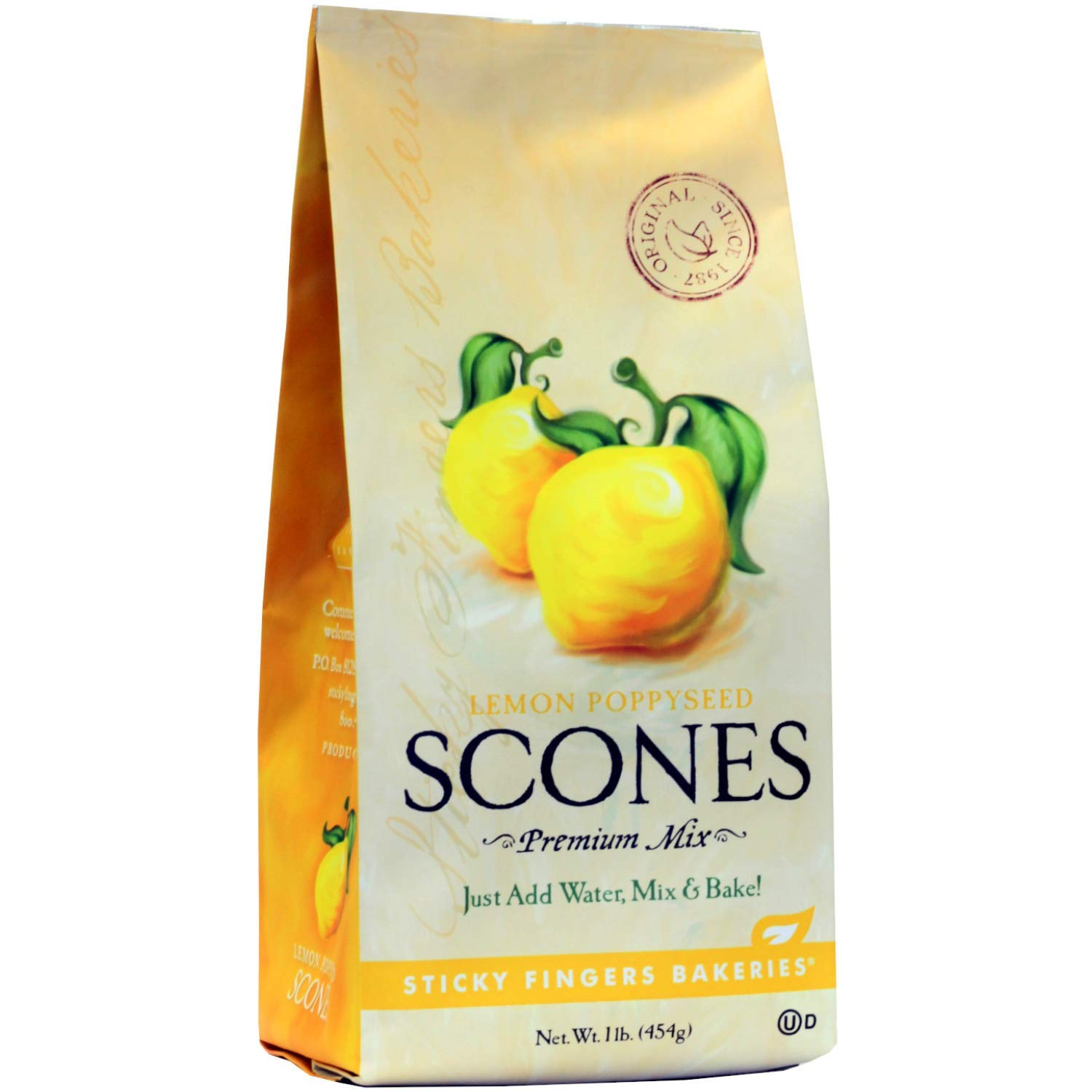 Sticky Fingers Bakeries, English Scone Mix, Lemon Poppyseed, Just Add Water, Mix, and Bake. Makes 12 Scones (Pack of 1)