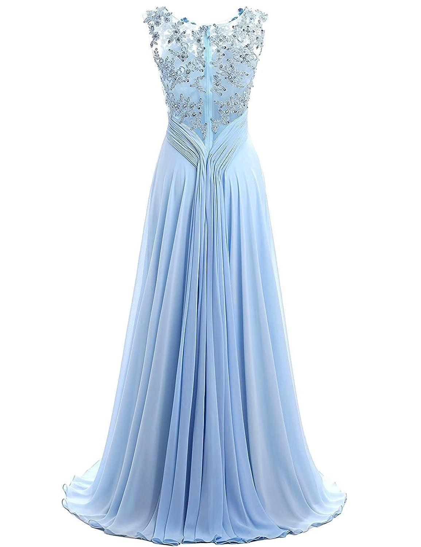 Beyonddress Damen Chiffon Perlstickerei Abendkleider Lange Elegant  HochzeitsKleid Spitze Cocktailkleider: Amazon.de: Bekleidung