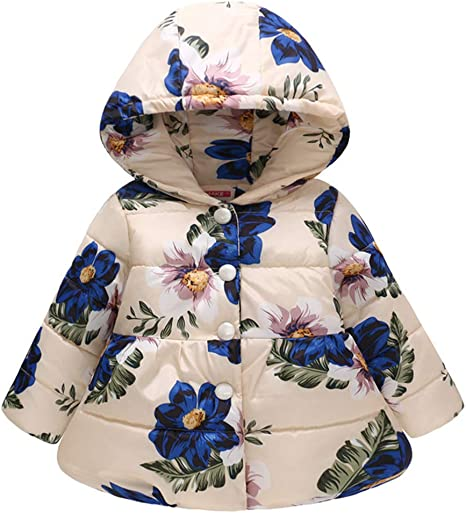 Girls Butterfly Print Down Coat Parka Down Jacket Snowsuit Winter Outerwear