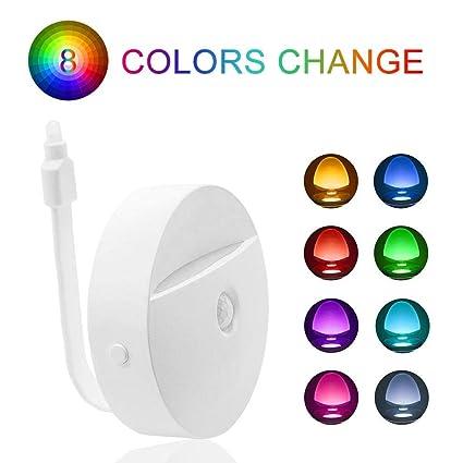 8 colores LED automática de sensor de movimiento Sensor de movimiento de luz nocturna lámpara de