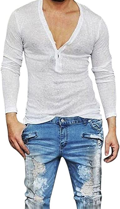 Camisetas Cuello en V Hombre, Camiseta de Manga Larga básica ...