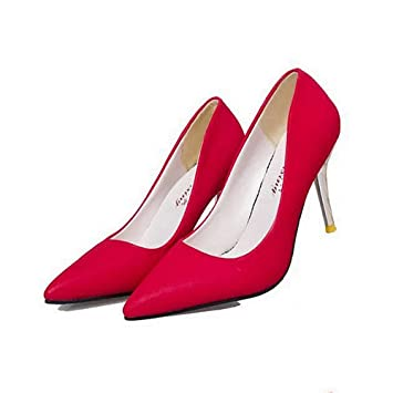 Women Es High Heels PU Scrub Sexy Modischen Flachen Mund Spitze Stiletto Heels Braut Hochzeit Schuhe Pumps Red...