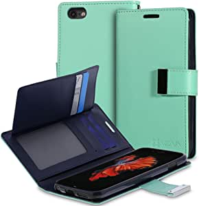 "iPhone 6S Wallet Case - VENA [vDiary] Slim Tri-Fold Leather Wallet Case with Stand Flip Cover for Apple iPhone 6S / iPhone 6 (4.7"") - Teal & Navy Blue"
