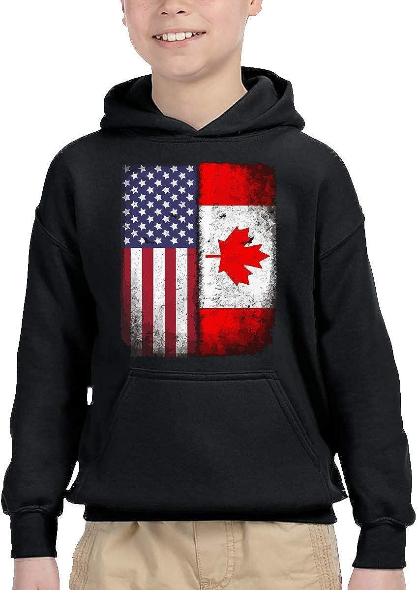 UGFGF-1S Canadian American Flag Toddler Boys Girls Long Sleeve Sweatshirt Pullover Hoodie 2-6T