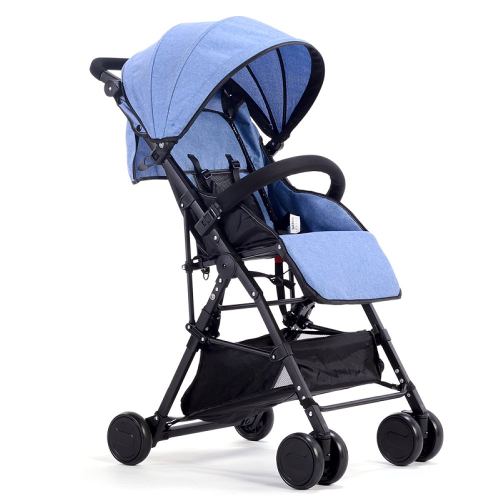 QXMEI Comfortable Stroller Ultra-Light And Portable Can Sit And Recline Fold High Landscape Baby Stroller,Blue